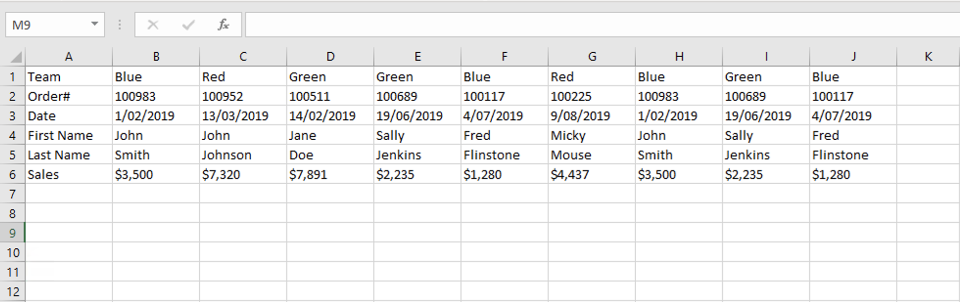 Excel Tips - Raw Data