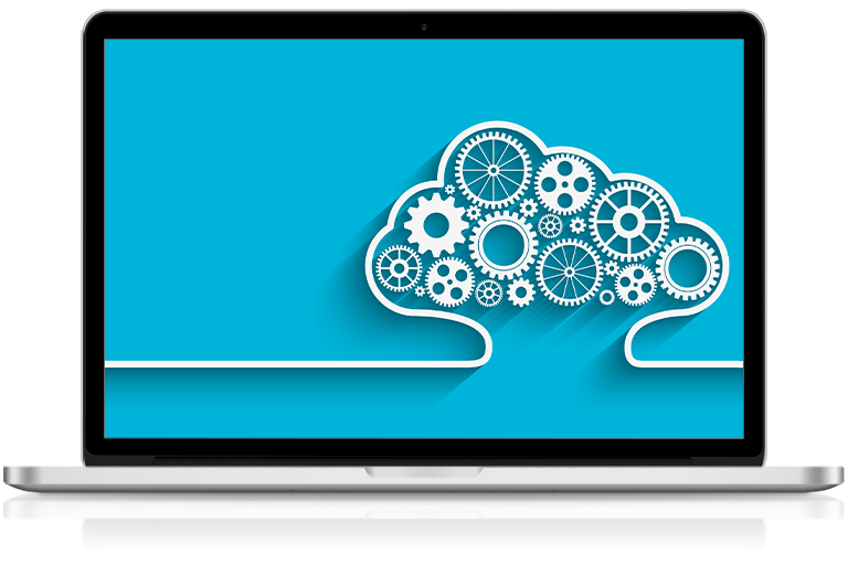 Office Solutions IT laptop with cloud IT graphic