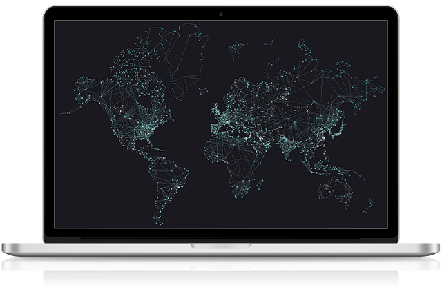 Office Solutions IT MacBook with world map of global resources support